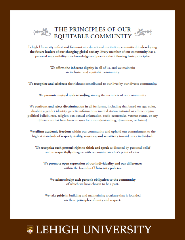 The Principles of Our Equitable Community