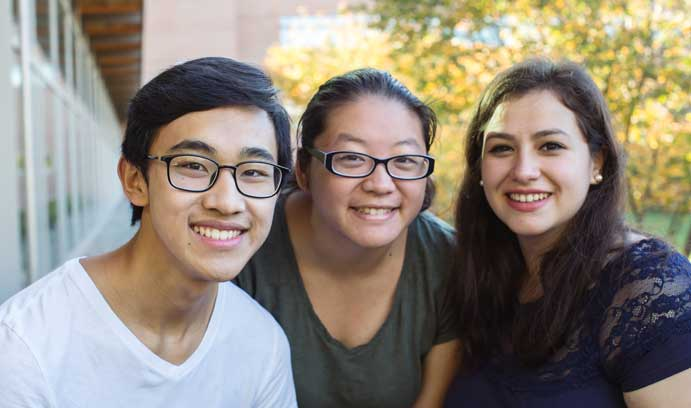 Kevin Ly '19, Sydney Yang '19 and Jocelin Gregorio '18