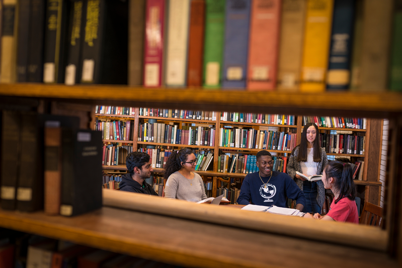 Students in Linderman Library