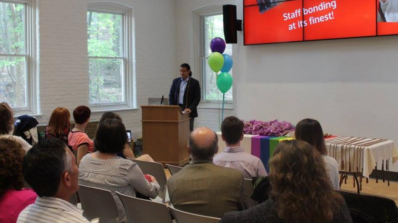 Keynote speaker address the audience at Take Pride