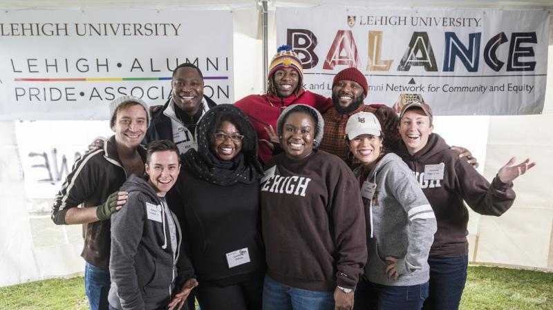 Members of Lehigh Alumni Pride Association and Lehigh Balance gather for a photo