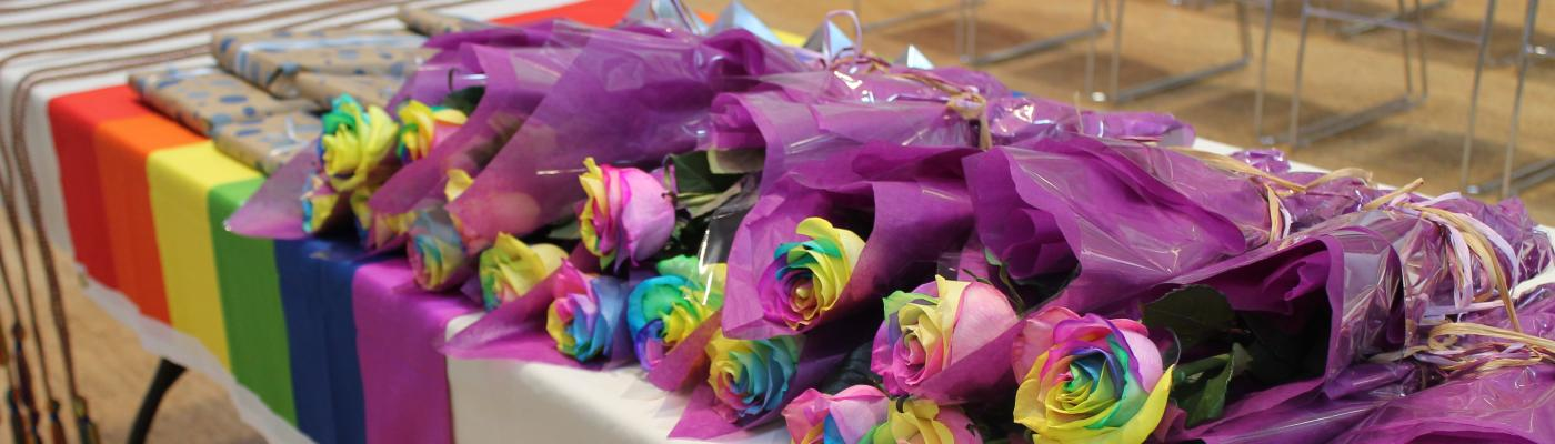 Rainbow flowers for our Take Pride event celebrating all of our graduates!