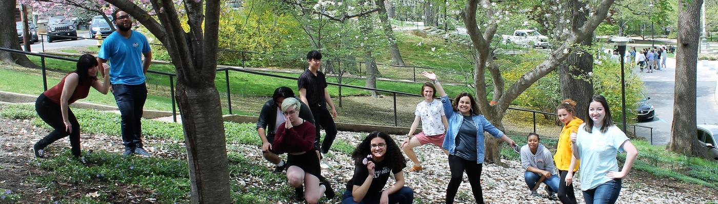 The 2018- 2019 CGE Staff take a break to enjoy the Spring weather! Left to right: Michelina, Wascar, Michael, Lauren, Rei, Nathaly, Aiden, Tanairy, Krystle, Grace, and Dana
