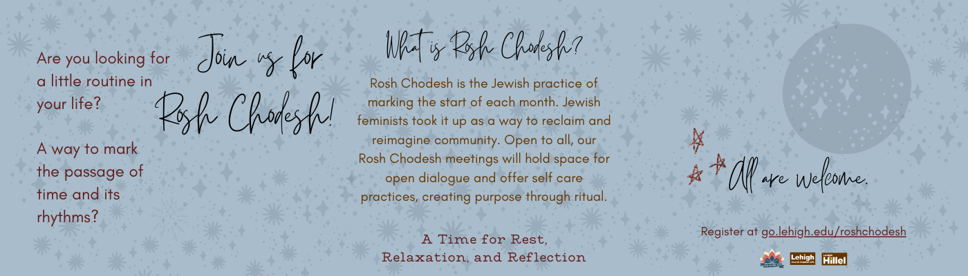 Upcoming Event: Rosh Chodesh Reimagine community with open dialogue, self care, and create purpose through ritual. The 19th of each month through April  at 7 pm.